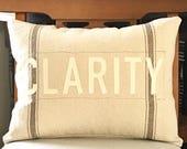 One Word Pillow, Positive pillow, Christian pillow, farmhouse pillow, ticking stripe pillow