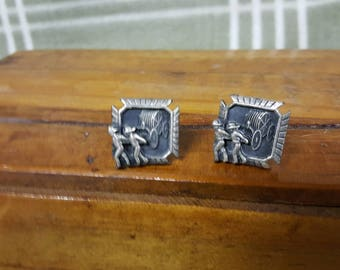 Vintage HICKOK Fireman/Firefighter Cufflinks. Fire Wagon.
