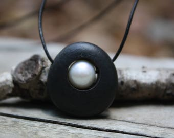 River Rock Jewelry, Lake Superior rock and pearl necklace, pearl and stone necklace, stone jewelry, river rock, beach stone, drilled rock