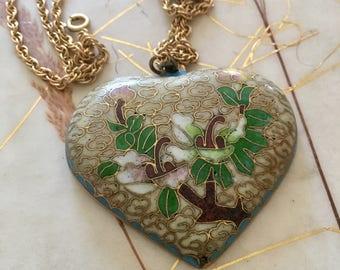 Vintage Cloissone Heart Pendant on 24 Inch Long Chain.Big Beautiful Heart.