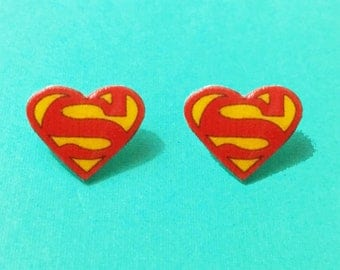 "Superhero Collection ""Superheart"" Superman Inspired Heart Earrings Comic Earrings"