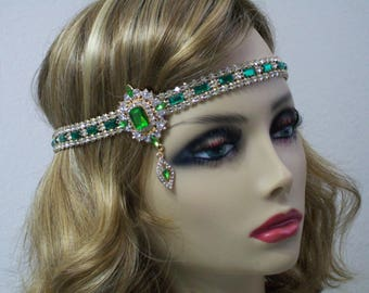 Green 1920s headband, Flapper headpiece, Great Gatsby headpiece, Rhinestone headband, 20s hair accessories, Roaring 20s dress, Jazz Age