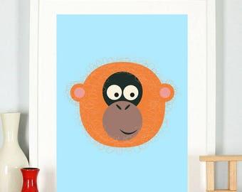Animal Alphabet O is for Orangutan A5 Postcard