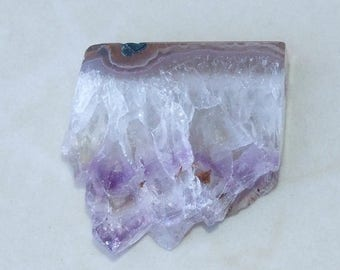 Amethyst Slice Pendant - Purple Colored - Natural Crystal Quartz - Slice Pendant Stone Beads - Highly Polished - 35 mm x 35 mm - 1631