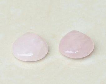 Rose Quartz Faceted Briolette - Rose Quartz Drop - Polished Rose Quartz - Rose Quartz Bead - One Pair - 16mm x 16mm x 6mm