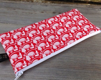 Fabric red white chicken hen pencil case pencil pouch desk office student school storage