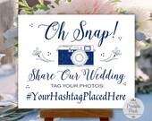 Navy Blue Printable Social Media Wedding Sign, Oh Snap, Instagram, Hashtag Sign (#SOC8N)