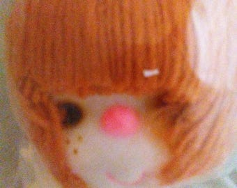 Large Red/Brown Hair,Craft Doll Head and Hands Set, Pale Skin, Rosy Cheeks, Dark Eyes