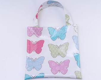 Butterfly Oilcloth Tote Bag, Mini Tote Bag, Book Bag, Lunch Bag, Reuseable Gift Bag, Child's Gift