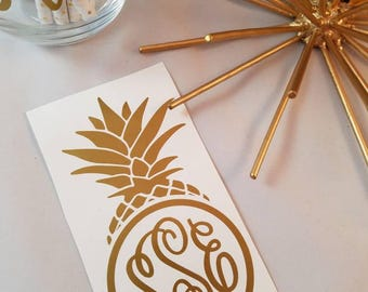 Pineapple Decal; Personalized Vinyl Decal; Name Vinyl Decal; Metallic Name Decal; Gold Name Decal