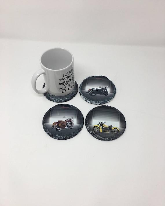 Custom Slate Coasters Set, Personalized Round slate Coasters, Groomsmen gift, Indian Motorcycle Coasters, Motorcycle coasters, Wedding Favor