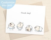 Oooh Baby - cute baby card with pug puppies, new puppy card, baby girl, baby boy, new baby gift, baby shower invitation, pug puppy by Inkpug
