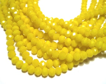 1 Strand Yellow Faceted Imitation Jade Glass Beads 3mm( No.23)