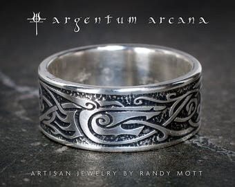 Viking Ring - Unique Man's Viking Wedding Ring - Viking Sterling Ring with Wolf Design - Silver Celtic Norse style jewelry