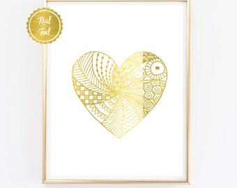 Gold foil heart // heart print // detailed heart // pretty heart // heart poster // gold foil print // gold love heart // wall art
