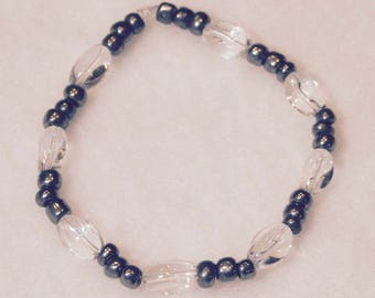 Glass Oval Bracelet With Gun Metal Seed Beads