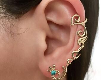 Brass Ear Climber - Brass Ear Crawler - Ear Climber Earrings - Long Ear Climber - Ear Crawler Earrings - Gemstone Ear Climber - Piercing
