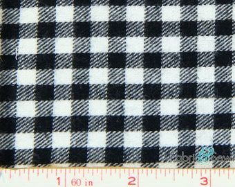 "Black and White Plaid Flannel Fabric Cotton 7.5 Oz 59-61"" 840447"