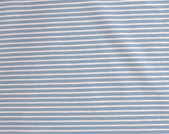 Fabric - cotton/elastane medium weight striped jersey fabric - pale blue/white - knit fabric.
