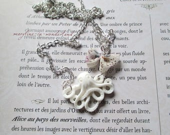 White Octopus octopus Octopus necklace