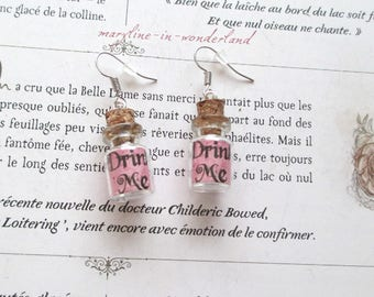 """Vial earrings """"drink me"""" pink Alice in Wonderland country"""