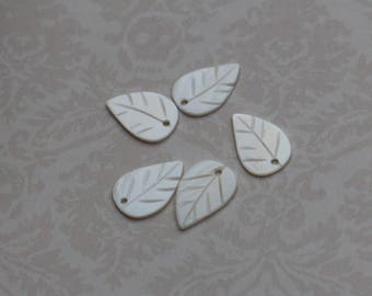 set of 5 nature charms leaf plant