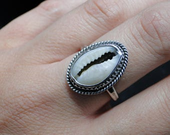 Boho Cowrie Shell Ring, Sterling Silver, Size 8