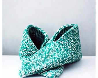 Upcycled Handknit Cotton Slippers Size M