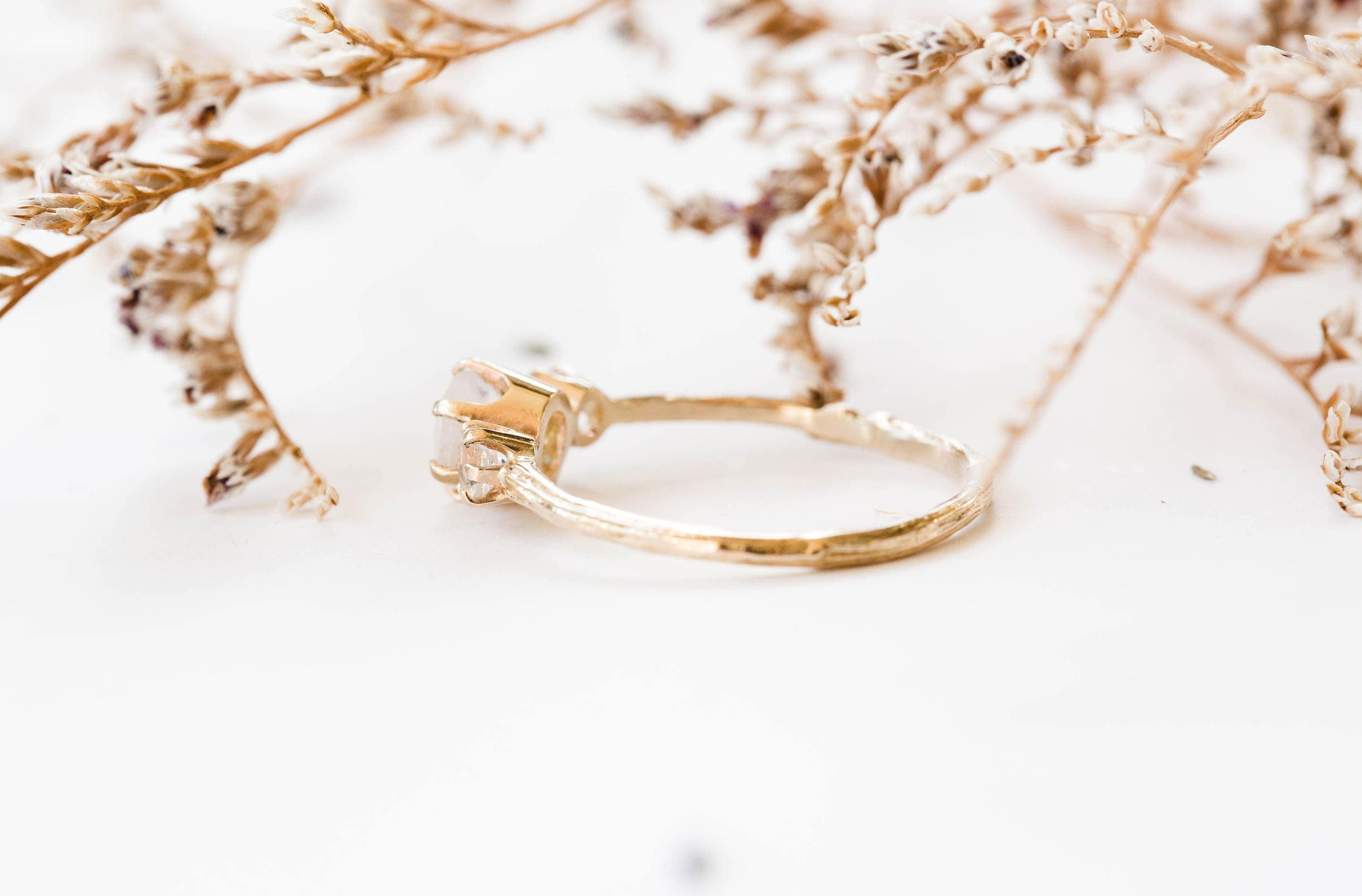 gold rings eco wedding with ring engagement moissanite friendly recycled twig oval rose of