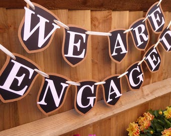 We are engaged chalkboard bunting banner, engagement party decor, customised your name