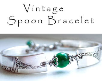 Spoon Bracelet Vintage Silverware Bridesmaid Jewelry Green Spotted Quartz  Green Stone Bracelet Gifts Under 40 Floral SIlverware