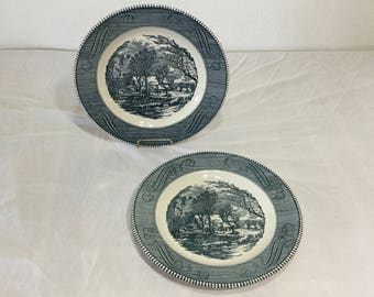 Royal China Currier & Ives Old Grist Mill Americana  Set of 2 Dinner Plates