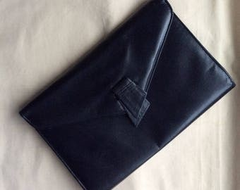 Vintage 70s navy leather Van Dal clutch bag, Small navy bag, navy purse, 1970s purse.