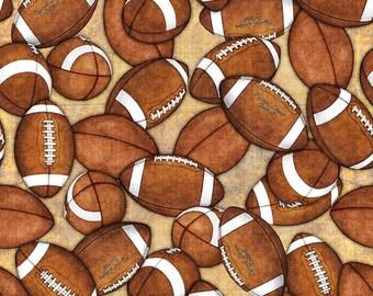 Footballs Fabric; You Choose Size; 26177-A Tan; Quilting Treasures; Sports Fabric; Gridiron; Football Fabric
