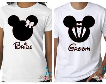 Mickey and Minnie Couples Shirts, Disney Couples Shirts, Bride and Groom Matching Shirts, Matching Couples Shirts, Honeymoon Shirts, Disney