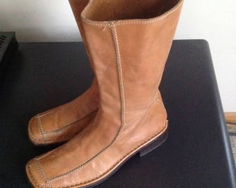Alberto Fermani Beige Tan Below Knee Leather Desginer Boots Size 8