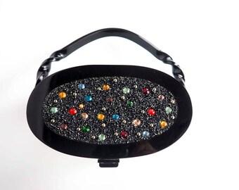 RARE 1950s Wilardy Black Jeweled Lucite Purse