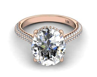 SUPERNOVA Moissanite Engagement Ring 7.10ct Oval Colorless Ring .50ct Natural Diamonds Hidden Halo Rose Gold Ring Pristine Custom Rings