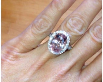Oval Morganite Wedding Ring 4.07ct Oval Pink Morganite 1.50ct Diamonds Halo Engagement Wedding Anniversary DinnerRing Pristine Custom Rings