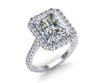 Radiant Cut Forever One Moissanite Engagement Ring 3.90ct Radiant Cut Ring .60ct Genuine Diamonds White Gold Halo Ring Pristine Custom Rings