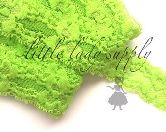 """SHOP CLOSING WHOLESALE Lace 10 yards Lime 1"""" Baby Soft Elastic Lace, headband lace, lace elastic, headband elastic, bulk elastic lime"""