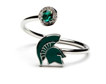 MSU Stainless Steel Spartan Helmet Ring