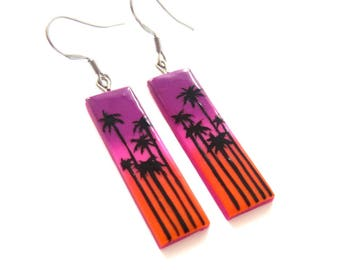 Palm Trees Earrings, Palm Trees Fashion, Purple Earrings, Pink Earrings, Orange Earrings, Sunrise Sunshine Jewelry, Rectangle Earrings, Fimo