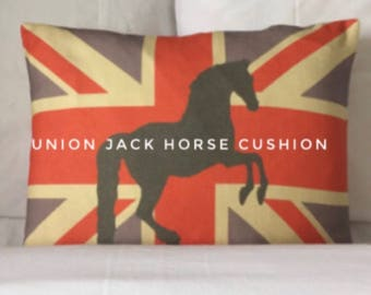 Horse Cushion, Pillow, Union Jack Flag Horse Motif Cushion Cover Pillow Oblong Vintage Colours Linen Union Handmade Original Gift Idea Horse
