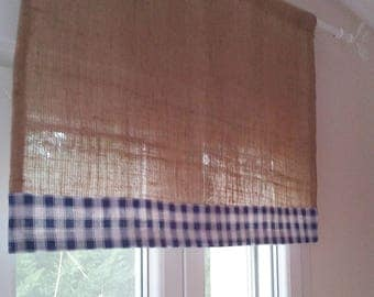 Burlap Curtain - Burlap and Gingham Valance - Rustic Curtain - Country Curtain -Cafe Curtain  - Burlap Drape - Checked Drape - Choose Color