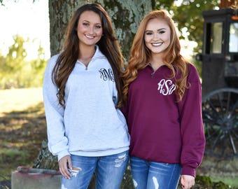 Quarter Zip Monogrammed Sweatshirt ~ 1/4 Zip Monogram Pullover Sweater ~ Gift for Her ~ Gift Under 30 (V)
