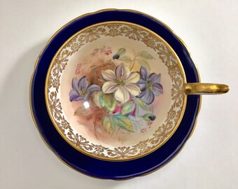 Stunning Signed Aynsley China Tea Cup & Saucer
