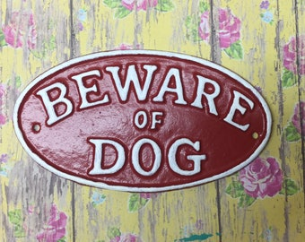 Cast Iron Beware Of Dog Sign Red With White Lettering Yard Gate Door Fence Porch Plaque Canine Vet