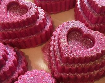 Venus. Heart shaped Bath Bomb with Biodegradable Glitter.  Organic Ingredients . Vegan. Made in Utah.