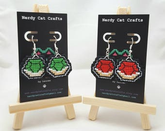 Nintendo - Koopa Shells - Mario Kart - Handmade Cross stitched Earrings - Hypoallergenic/Sterling Silver/Stainless Steel/Clip-Ons